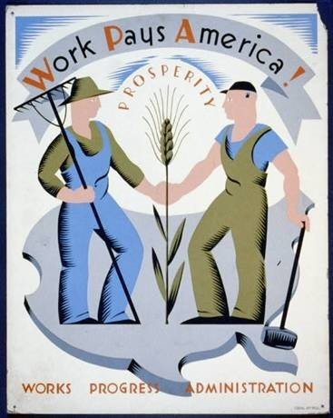 works progress administration, WPA workers, Franklin Delano Roosevelts New Deal